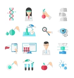 Biotechnology Flat Icons Set vector