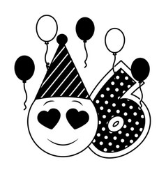 birthday emoticon party hat balloons and six vector image