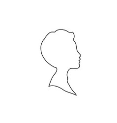 black profile outline silhouette of boy or man vector image