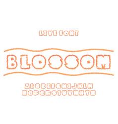 Blossom sun font alphabet vector