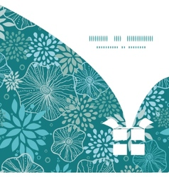 Blue and gray plants Christmas gift box silhouette vector