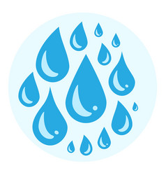 Blue cry cartoon tears icon or sweat drops from vector