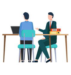 business meeting partners boss and employee vector image