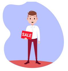 businessman holding sale board special offer vector image