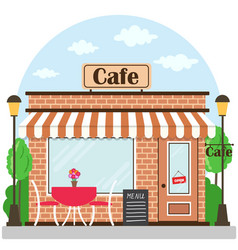 cafe building facade with signboard flat style vector image