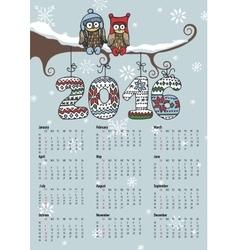 Calendar 2016Owl coupleKnitting numbers vector