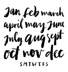 Calendar calligraphy months vector image