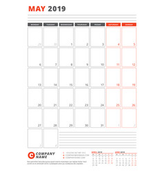 Calendar template for may 2019 business planner vector