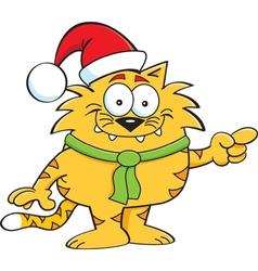 Cartoon Cat Santa vector image