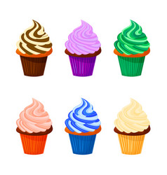 cartoon of sweet cupcakes vector image
