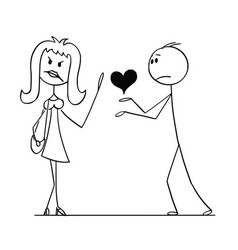cartoon woman rejecting heart and love from man vector image
