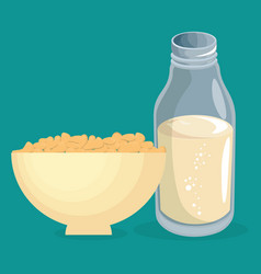 cereal dish with milk delicious food breakfast vector image