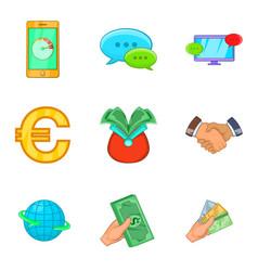 Cheap credit icons set cartoon style vector