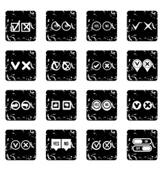 Check mark set icons grunge style vector