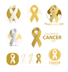 childhood cancer day symbol collecion abstract vector image