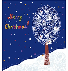 Christmas card with tree and landscape vector image
