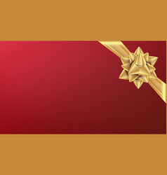 christmas gold bow element for decoration vector image