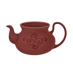Clay brown teapot without a lid vector
