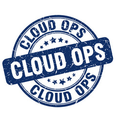 Cloud ops blue grunge stamp vector