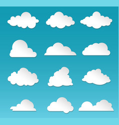 clouds rainy sky cartoon fluffy white shapes on vector image