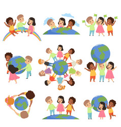 collection of multicultural little kids holding vector image