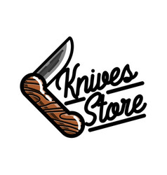 color vintage knives store emblem vector image