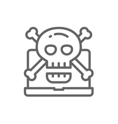 computer with skull and crossbones symbol virus vector image
