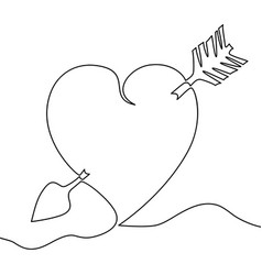 Continuous line drawing heart love concept vector