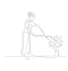 Continuous one line woman cuts a bush with a brush vector