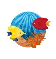 Coral and fish icon sea life design vector