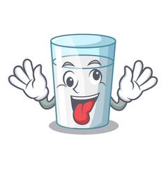 Crazy cartoon sweet milk glass for breakfast vector