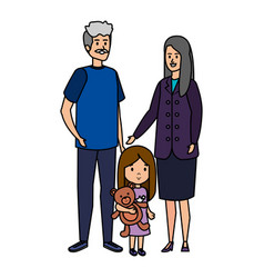 Cute grand parents couple with grandaughter vector