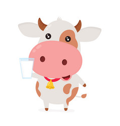 Cute smiling happy funny cow vector