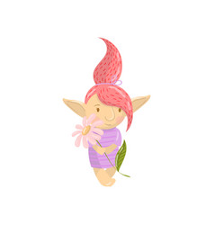 cute troll girl character with camomile flower vector image