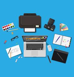 Designer workplace desktop with tools vector