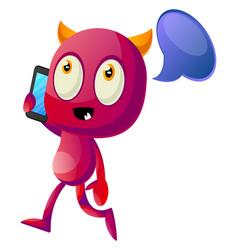 Devil talking on cellphone on white background vector