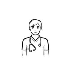 doctor with stethoscope hand drawn outline doodle vector image