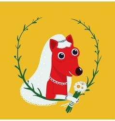 Dog Bride Funny Portrait vector image