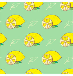 doodle yellow lemons and leaves behind green vector image
