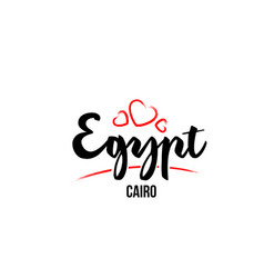 Egypt country with red love heart and its capital vector