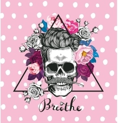 fashion skull with rose vector image