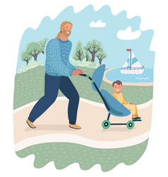 father and child in pram or carriage walk in park vector image