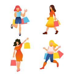female shopping girls with shopping bag vector image