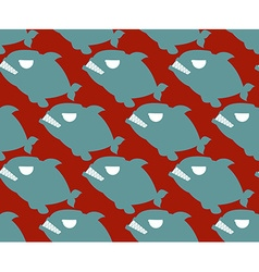 Fish seamless pattern Naval Piranha predatory fish vector image