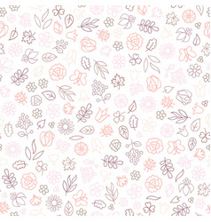 flower icon seamless pattern floral leaves and vector image