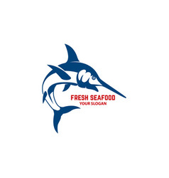 fresh seafood emblem template with swordfish vector image