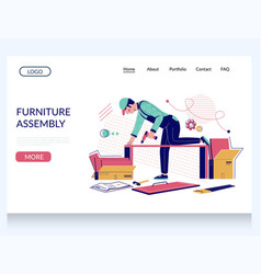 Furniture assembly website landing page vector