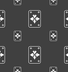 game cards icon sign Seamless pattern on a gray vector image