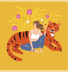 Girl and tiger art print vector