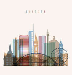 Glasgow skyline detailed silhouette vector